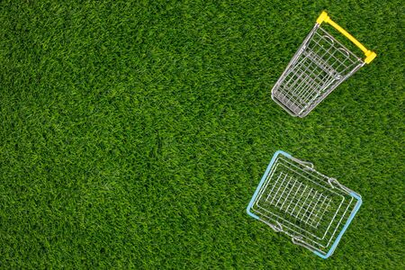Shopaholic. Buyer. Shopping concept. Close-up. From above. Isolated cart and shopping basket on a background of green grass. Copy space