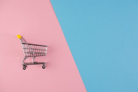 Shopaholic. Buyer. Shopping concept. Close-up. From above. An isolated trolley and shopping basket on a pink and blue background bisected. Copy space. Stock Photo