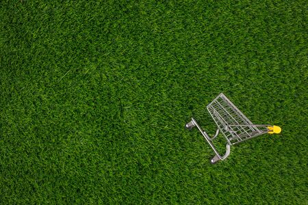 Shopaholic. Buyer. Shopping concept. Close-up. From above. Isolated shopping trolley on a background of green grass. Copy space. Stock Photo