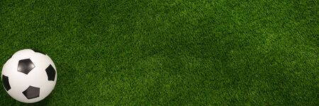 Soccer ball on the green field. View from above. The apartment was lying. Banner. The concept of football matches.