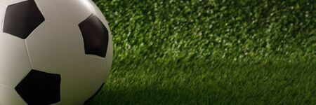 Soccer ball on the green field. The concept of football matches. Copy space. Banque d'images - 134724635