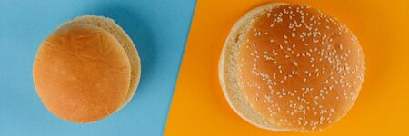Small and classic bun empty isolated. American food classic round burger bread and with sesame seeds isolated on a blue and orange background. Two different fried hamburger buns. Close-up. Versus. 写真素材