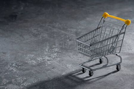 Shopaholic. Buyer. Shopping concept. Close-up. An isolated trolley and shopping basket on a gray background bisected. Macro.