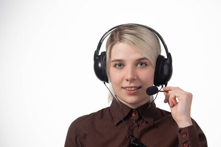 Support phone operator in headset, isolated on white. Close-up Banco de Imagens