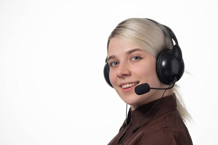 Support phone operator in headset, isolated on white. Close-up Foto de archivo