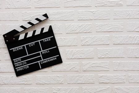 Filmmaking concept. Movie Clapperboard. Cinema begins with movie clappers. Top view. Copy space. Place for your text.
