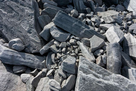Large boulders of rock, in a national park in the Polar Urals, Russia. Hiking concept. Close-up.
