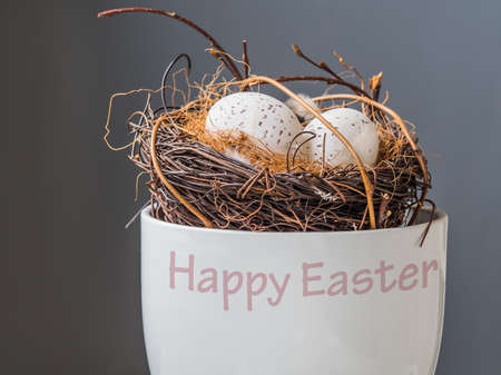 Nest with  Eggs on white flowerpot from side Stock Photo