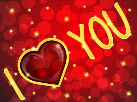 The inscription I love you on red background