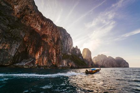 A small boat at dawn. Thai boat
