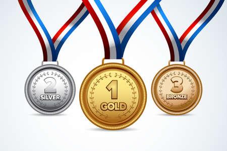 Kampioen gouden, zilveren en bronzen medailles met rode linten. Geïsoleerde vector illustratie. Stock Illustratie