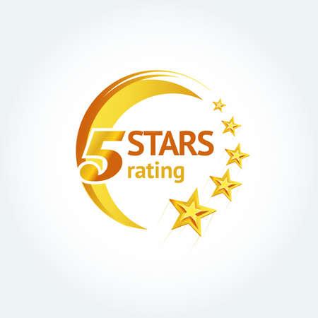 Golden Five stars round template. Isolated Vector illustration Illustration