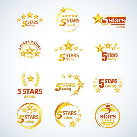Złote pięć gwiazdek okrągłe logo zestaw szablonów. Ilustracja na białym tle wektor