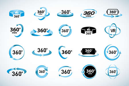 360 Degrees View Vector Icons set. Virtual reality icons. Isolated vector illustrations. Blue Color version