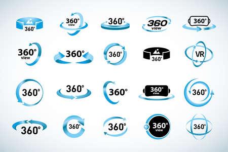 360 Grad Ansicht Vektorsymbole eingestellt. Virtual-Reality-Symbole. Isolierte Vektorillustrationen. Blaue Farbversion Vektorgrafik