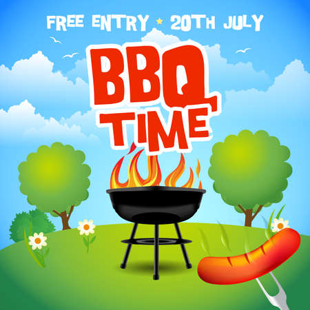 Barbecue summer party poster. Barbecue grill illustration. Barbecue party invitation. BBQ brochure menu design vector illustration. Illustration