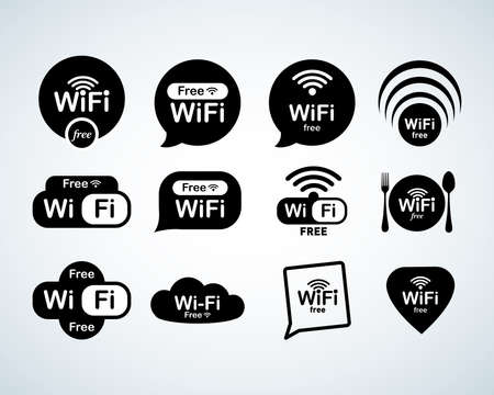 Free wifi logo set. Free wifi signs set. Wifi symbols. Wireless Network icons. Wifi zone. Modern UI website navigation. Isolated Vector illustrations