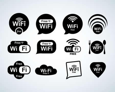 Set logo wifi gratuito. Set di segni wifi gratuito. Simboli Wi-Fi. Icone di rete wireless. Zona Wi-Fi. Navigazione del sito Web con interfaccia utente moderna. Illustrazioni vettoriali isolate Logo