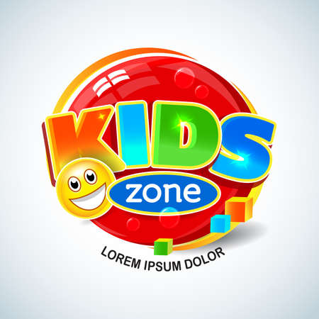 Kids Zone Vector Banner in Cartoon Style. Bright and Colorful Illustration for Children's Playroom Decoration. Funny Sign for Kids Game Room. Isolated vector illustration. Stockfoto - 126181393
