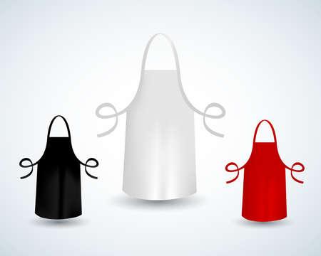 Delantal de algodón de cocina en blanco blanco, negro y rojo aislado ilustración vectorial. Delantal protector uniforme para cocinar o panadero Ilustración de vector