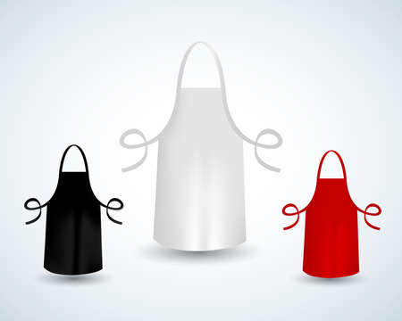 White, black and red blank kitchen cotton apron isolated vector illustration. Protective apron uniform for cooking or baker Ilustracje wektorowe
