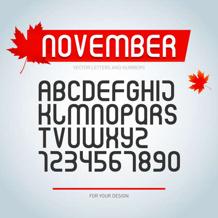 November font, set of stylized alphabet letters and numbers. vector, regular font type. stylish typeface design. modern typesetting