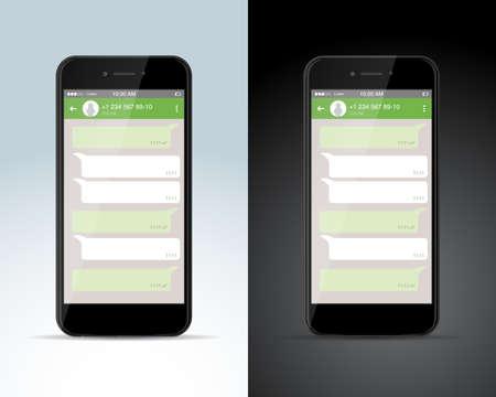 Concetto di rete sociale. Modello vuoto. Finestra di Messenger. Concetto di chat e messaggistica. Illustrazione vettoriale isolato.