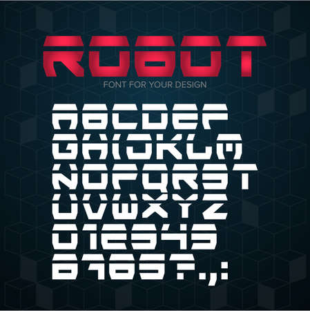 Robot Technology font. Geometric, sport, futuristic, future techno alphabet. Letters and numbers for military, industrial, hi-tech logo design. Modern minimalistic vector typeface