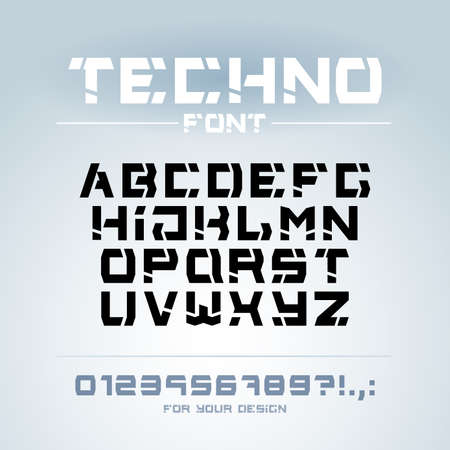 Letters and numbers for military, industrial, hi-tech logo design. Modern minimalistic vector typeface