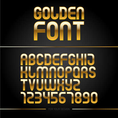 Golden glossy font or gold alphabet. Yellow metal typeface. Metallic golden abc, alphabet typographic luxury illustration Reklamní fotografie - 127482439