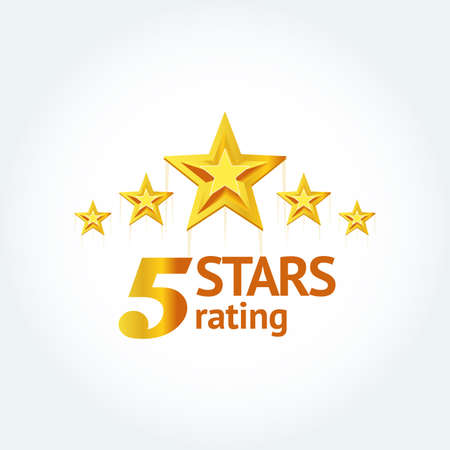 Five Golden stars with text Five stars rating template. Isolated Vector illustration