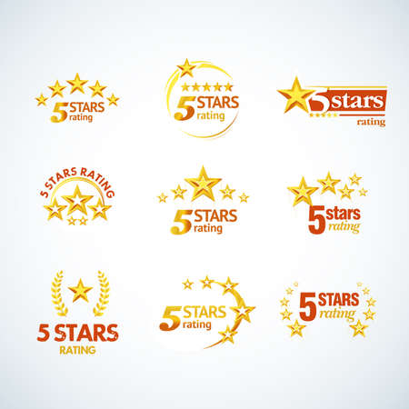 Golden Five stars round template set.