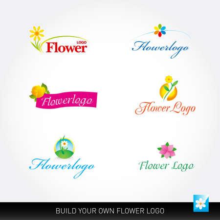 Flower vector logotypes set. Flowers logo templates. Floral logos