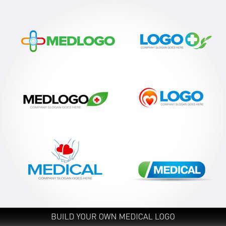 Medical and health logos design templates set.