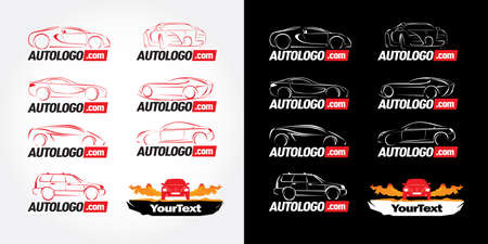 Car logotypes - car service and repair, vector set. Car logo templates. Car icons, buttons template. Car outline. Ilustrace