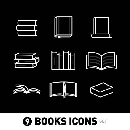 9 Book Icons, book icons set. Isolated vector illustrations on black background. Ilustrace