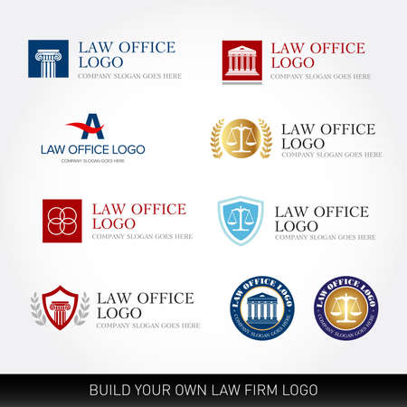 Lawyer logo design templates. Law office logo set. The judge, Law firm logo templates, lawyer set of vintage labels collection. Vector logotypes. Ilustrace