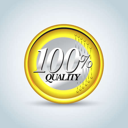 100% quality in one euro coin. Guarantee label, stamp, banner, badge, t-shirt design .Vector isolated design. Ilustrace