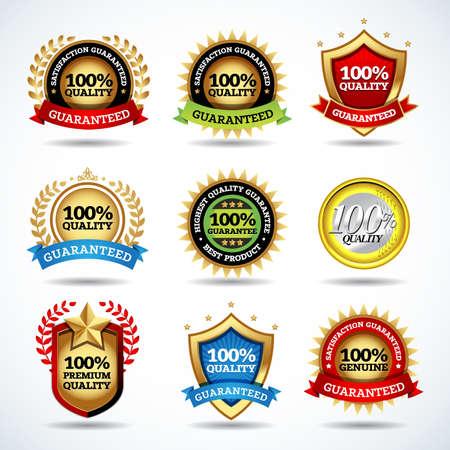 Vector set of 100% guarantee labels, stamps, banners, badges, crests, labels. Vector isolated design. Illusztráció