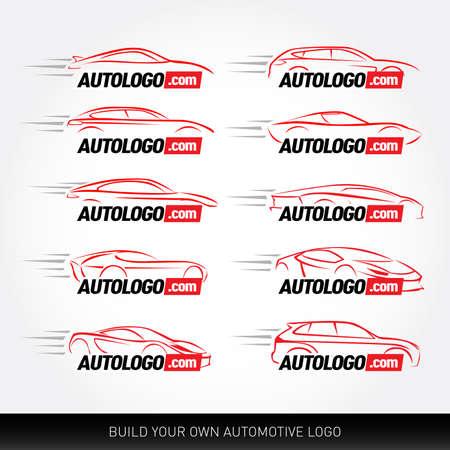Car logotypes - car service and repair, vector set. Car logo.