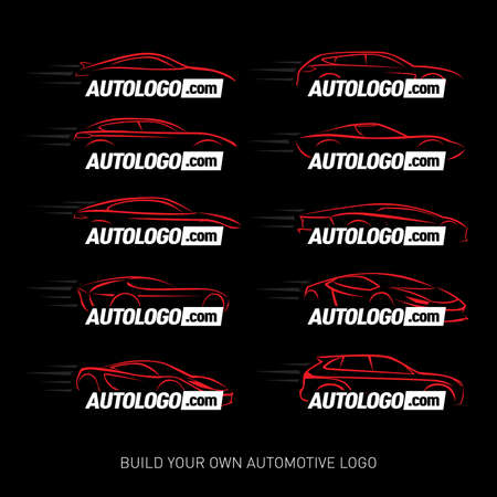 Car logotypes Silhouette - car service and repair, vector set. Car logo. Isolated vector illustrations. White and red version.