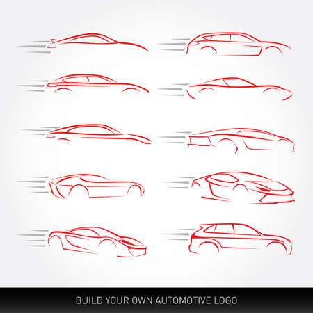 Car logotypes Silhouettes - car service and repair, vector set. Car logo.