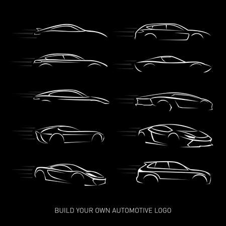 Cars logotypes Silhouette - car service and repair, vector set. Cars logos. Isolated vector illustrations. Black and white version.