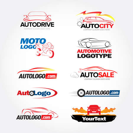 Car logotypes templates set - car service and repair, vector set. Cars logos. Isolated vector logo templates set.