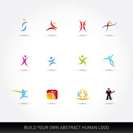 Abstract vector human figures vector set, logo templates, logo design elements.