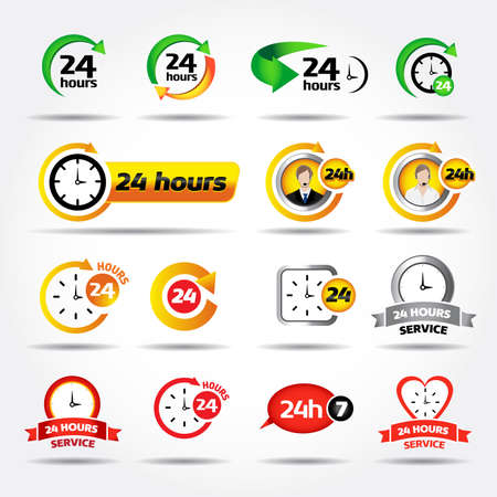 24 hours. Colorful icons set: 247, Badges, Labels or Stickers for Customer Service, Support and Call Center