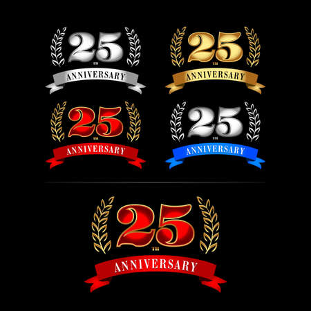 25th Years Anniversary Celebration Design templates set. Isolated vector illustration design. Silver, blue, gold, red versions.