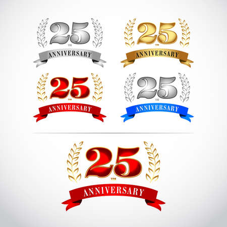 25th Years Anniversary Celebration Design templates set on white background. Isolated vector illustration design. Silver, blue, gold, red versions. Ilustrace