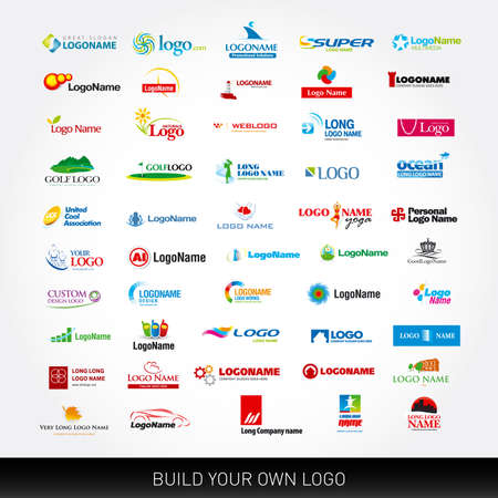 Logotypes set. 50 logo design templates. 50 logotypes on various themes. Mega collection, vector set. Ilustrace