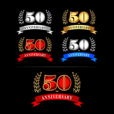 50th Years Anniversary Celebration Design templates set on black background. Isolated vector illustration design. Silver, blue, gold, red versions.
